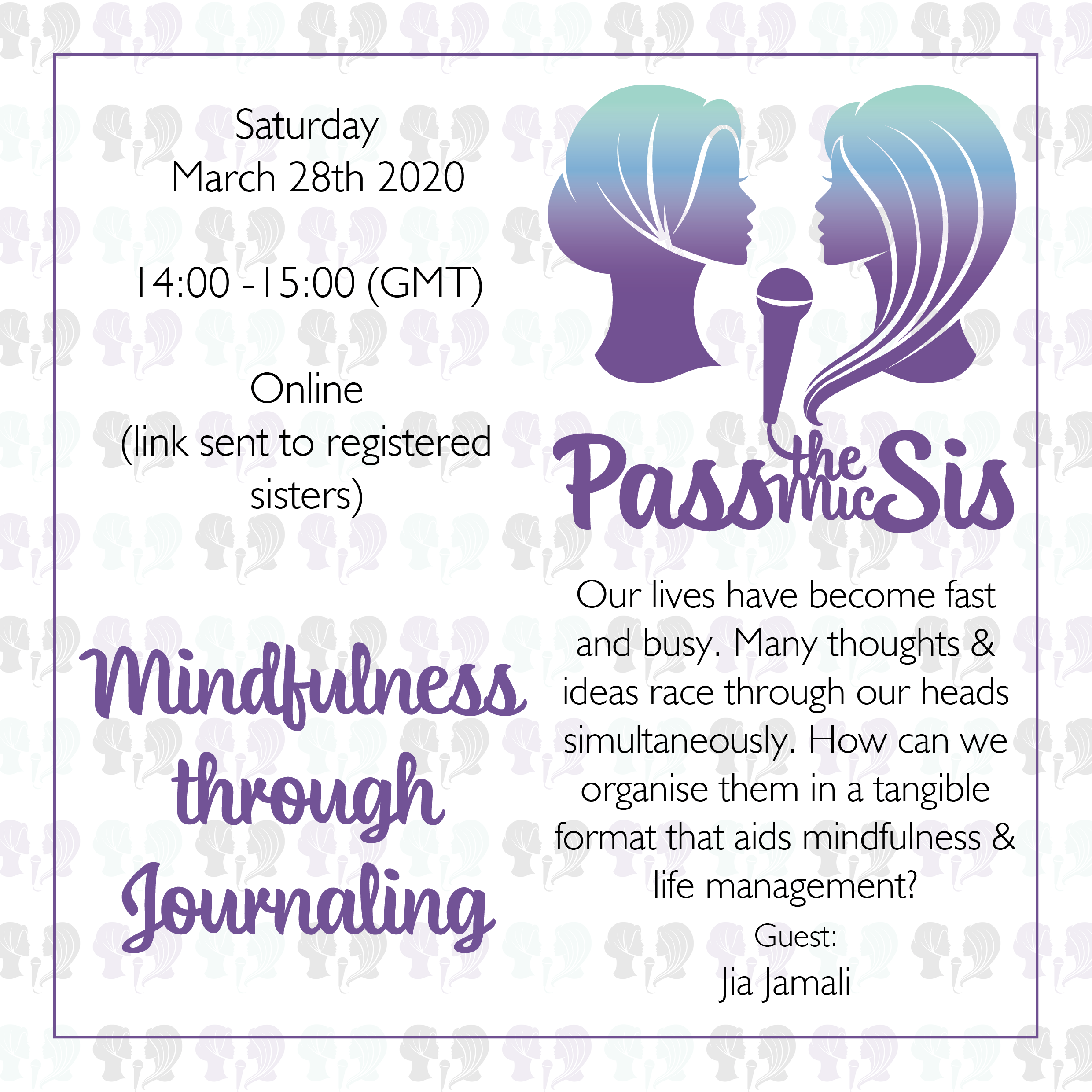 PtMSis Mindfulness through Journaling March 2020 Invitation